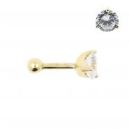 Gold Tragus Barbell - 5mm Zirconia