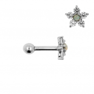 White Gold Tragus Barbell With Flower