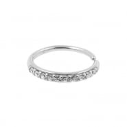 White Gold Continuous Ring With Zirconia