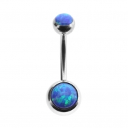 Double jewelled opal belly ring