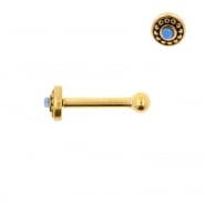 Internally Threaded Tragus Barbell - Opal Dots