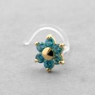 Bioplast Nosestud - Gold Zirconia Flower