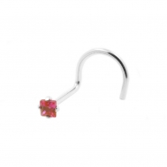 White Gold Nose Stud with Square Gem
