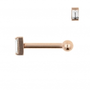 Internally Threaded Tragus Barbell - Zirconia Rectangle 4mm