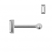 Internally Threaded Tragus Barbell - Zirconia Rectangle 5mm