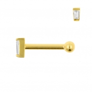 Internally Threaded Tragus Barbell - Zirconia Trapezoid