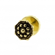 Brass Fake Plugs - Dotted Flower