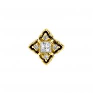 Gold Swarovski Zirconia Ornamental Square