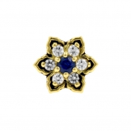 Gold Swarovski Zirconia And Topaz Flower