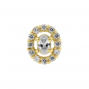 Gold Swarovski Zirconia Multi Oval