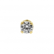 Gold Swarovski Zirconia Attachment Round