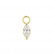 Gold Click Ring Charm - Zirconia Marquise