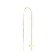 Gold Chain Earrings - Cross