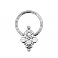 Titanium Swarovski Cluster Ball Closure Ring