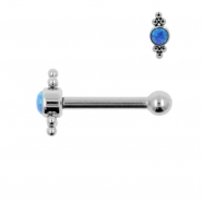 Titanium Opal Cluster Barbell