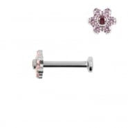 Titanium Labret With Zirconia Flower