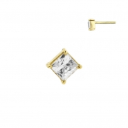 Gold Swarovski Zirconia Square - Threadless