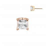 Rose Gold Zirconia Square - Threadless