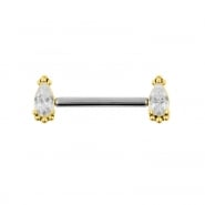Nipple Barbell With Gold Vintage Marquise - Threadless