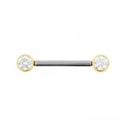 Nipple Barbell With Gold Zirconia Discs - Threadless