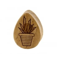 Teak Cactus Teardrop Plugs - Succulent In Pot